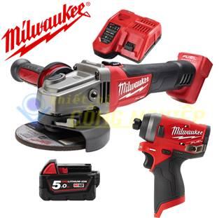 Combo Máy mài góc Milwaukee M18 CAG100X + Máy vặn vít M12 FID-0C + 1Pin 5.0Ah + Sạc