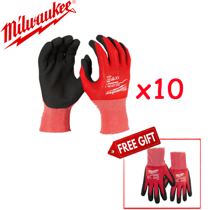 Combo 10 đôi Găng tay chống cắt Milwaukee Level 1 (48-22-8902)