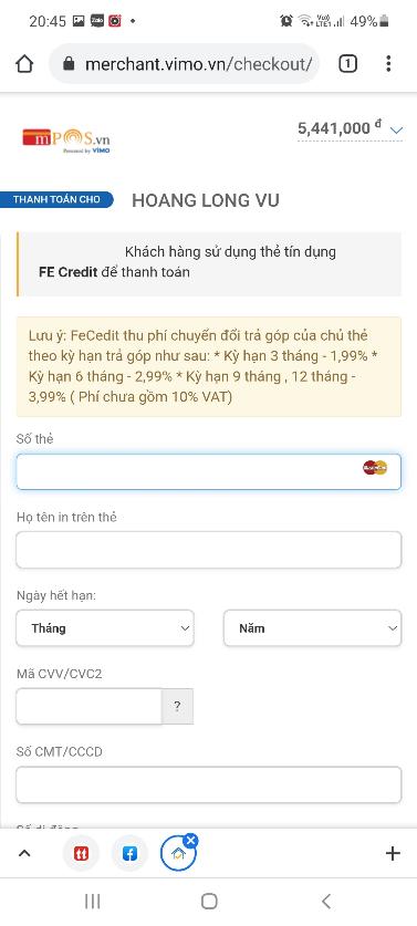 Tạo link thanh toán trả góp qua Visa