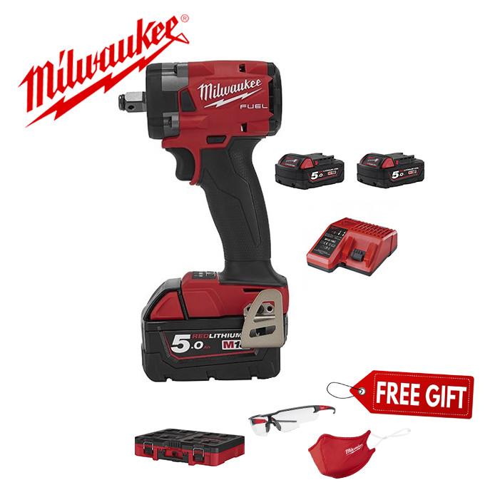 Combo 4 máy siết bu lông Milwaukee M18 FIW212 + Pin 18V 5.0Ahx2 +Sạc nhanh M12 18FC
